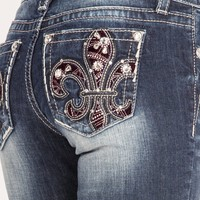 Dark Wash Fleur De Lis Embellished Boot Cut