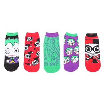 Licensed cool SUICIDE SQUAD JOKER HARLEY QUINN CHIBI 5PK Ladies No Show Ankle Socks MIX MATCH