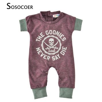 Newborn Baby Rompers Summer Cartoon Skull Boys Girls Jumpsuit For Infant Clothes 2017 New Short Sleeve Letter Kids Baby Romper