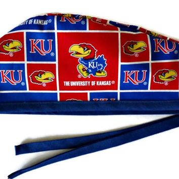 Men's Unlined Surgical Scrub Hat Cap in Kansas Jayhawks Squares
