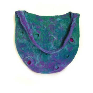 Felted bag felt bag felt handbag wool bag petrol green petrol blue puple violet blue autumn bag boho OOAK