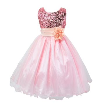 Princess Girl Dress 2015 Baby Girls Sequins Tulle Flower Party Dress Gown Formal Wedding Dresses