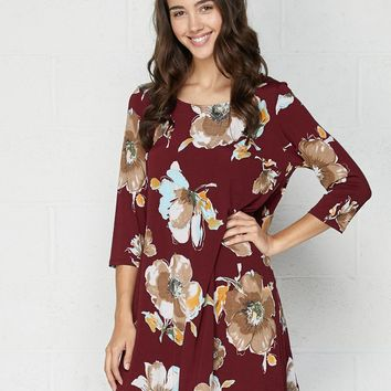 Carson Burgandy & Taupe Swing Dress by Honeyme