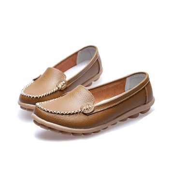 Women's Genuine leather Flats Mother's Leather Shoes Slip-on Ballet Flats Comfort Anti