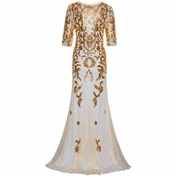 Vintage 1920s Long Wedding Prom Dresses 2/3 Sleeve Sequin Party Evening Gown