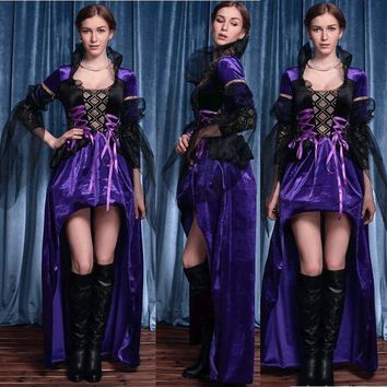 Cool Halloween Fairy Tale Queen Cosplay Costume For Women Adult Girls Purple Queen Dress Female Party Dress VestidosAT_93_12