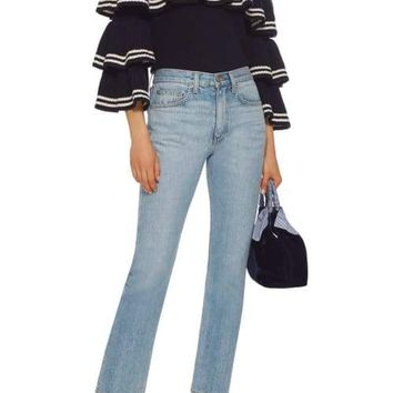 Open Knit Stripe Frill Sweater