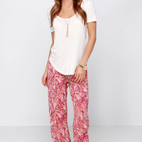 Billabong Midnight Hour Red Paisley Print Pants