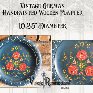 Vintage Hand Painted Wooden Plate from Germany