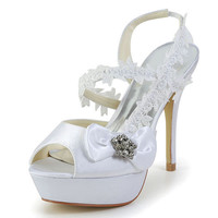 Elegant Women's Wedding Shoes With Rhinestones Bow and Lacework Design LC908779#