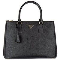 Prada women's handbag cross-body messenger bag purse galleria lux black