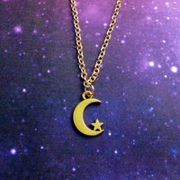 Gold or silver Moon and star necklace