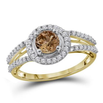 10kt Yellow Gold Womens Round Brown Color Enhanced Diamond Solitaire Bridal Wedding Engagement Ring 1.00 Cttw