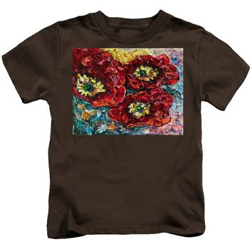 Diptych 2 Piece Painting Of Poppies Palette Knife Oil - Kids T-Shirt