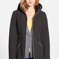 Women's Betsey Johnson Soft Shell Jacket with Detachable Hood,
