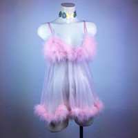 90's Pastel Baby Pink Ostrich Feather  Mesh Peignoir Babydoll
