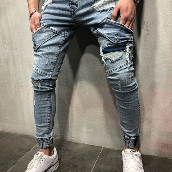 Ripped and Repaired Design Jeans