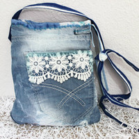 Blue denim bag, Messenger bag with jeans, Worn jeans bags, Recycled bags, Jeans and lace bags, Practical denim bag, Unique bag, Blue bag