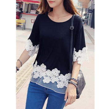 2015 Women Round Neck Lace Flower Summer Style Black Shirts T-Shirt Tops PE3497A*50