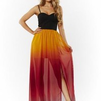 Tie Dye Print Sleeveless Maxi Dress with Black Bodice Top