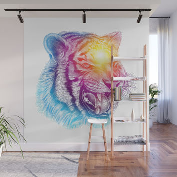 Animal III - Colorful Tiger Wall Mural by tmarchev