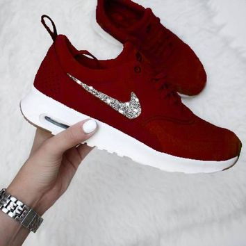 NIKE Air Max Thea Trending Diamond Fashion New Coupler Shining Sequin Burgundy+Silver Hook Sports Shoes