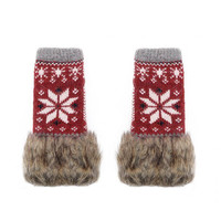 Red  Knitted Palm Warmer Gloves