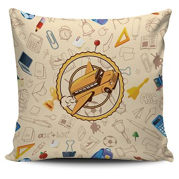 Flying School Bus Pillow Cover