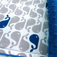Whale Baby Blanket-Baby Boy-Choose Your Own Minky-Minky Baby Blanket-Nautical Baby Blanket