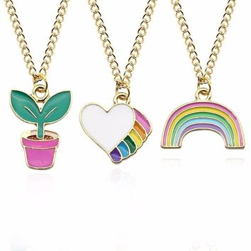 Cute Kawaii Enamel Love Heart Rainbow Potted Plant Gold Chain Pendant Necklaces