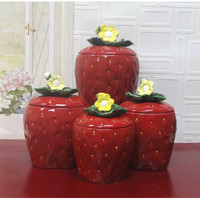 A.C.K. Trading Co. 3D Strawberry 4 Piece Canister Set