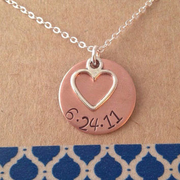 Copper Date Necklace with Heart Charm Necklace, Mother's Day Necklace, Mom Gift Name Necklace with Heart Charm Anniversary Necklace