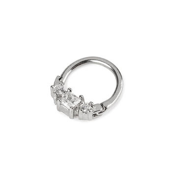 16G Three Stone Crystal Septum Clicker Ring