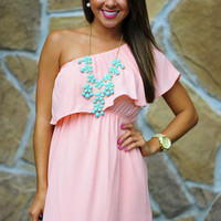 Unconditional Love One Shoulder Dress: Pink | Hope's