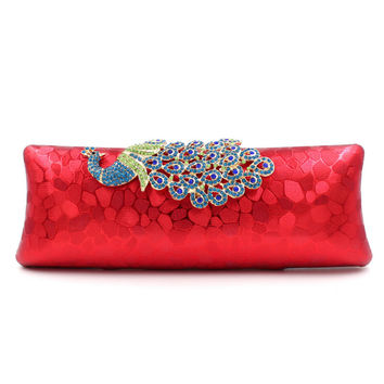 Luxury Diamonds Peacock Women Clutch Bags Fashion Velvet Rhinestone Evening Bags For Wedding Bridal Party Wallet With 2 Chains