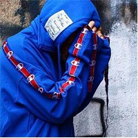 Champion Sleeve Cuff - Hooded Sweat Men and Women Thicker Jacket - Ribbon