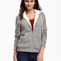 Sherpa-Lined Full-Zip Hoodie for Women | Old Navy