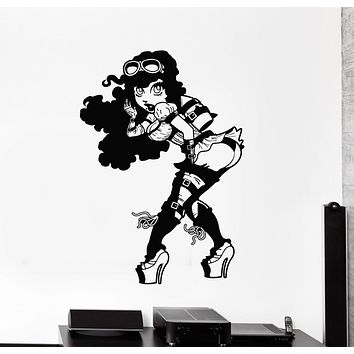 Vinyl Wall Decal Sexy Steampunk Girl with Rocket Art Decorating Stickers Mural Unique Gift (ig5017)