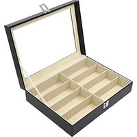 ADTL Black Leather Box 8 Slots For Eyeglass Sunglass Glasses Display Case Storage Organizer Collector