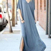 Solid boho country sleeveless maxi dress w hi low hem & criss cross back