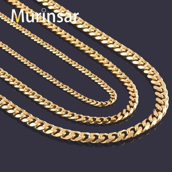 LMFUS4 Width 3.6mm/5mm/7mm Stainless Steel Gold Chain Men Necklace 18K Gold Filled Stainless Steel Link Chain Necklace Free Shipping