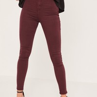 Missguided - Caroline Receveur Burgundy High Waisted Skinny Jeans