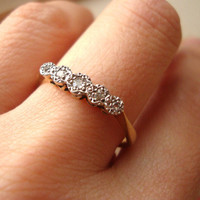 Vintage Diamond Eternity Ring, Art Deco Diamond Engagement Ring, 18k Gold and Platinum Ring Approx Size US 8.5
