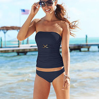 MICHAEL Michael Kors Swimsuit, Bandeau Tankini Top & Solid Hipster Brief Bottom - Womens Swimwear - Macy's