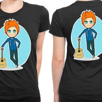 DCCKL83 Ed Sheeran Cartoon Melancholis 2 Sided Womens T Shirt