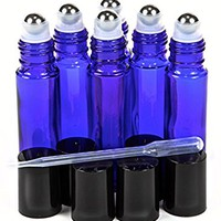 6, Cobalt Blue, 10 ml Glass Roll-on Bottles with Stainless Steel Roller Balls - .5 ml Dropper Included