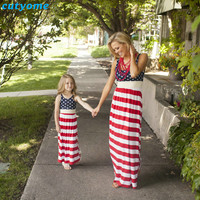 Cutyome Matching Mother And Daughter Dresses Mommy And Me Clothes Sleeveless Striped Family Look Matching Outifits Mom Kids Girl