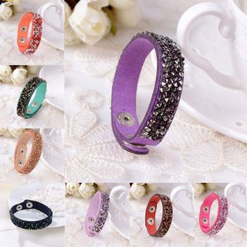 ESBONFI Sale New 1Pc Women Fashion Personality Exaggerated Slake Crystal Wrap Wide Leather Bracelets Jewelry 18 Colors