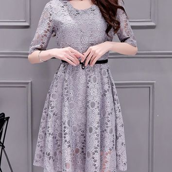 Casual Hollow Out Plain Lace Skater Dress With Half Sleeve