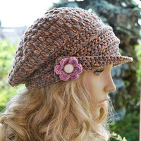 Crocheted  PEAKED CAP beanie Slouchy Winter Fashion , very warm, women slouchy hat,Girls Hat,unique gifts